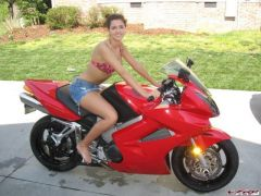 My woman modeling my bike for me