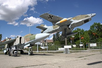 Posing at aircraft museum Wernigerode (Germany)  Mig 23 + Fiat G91