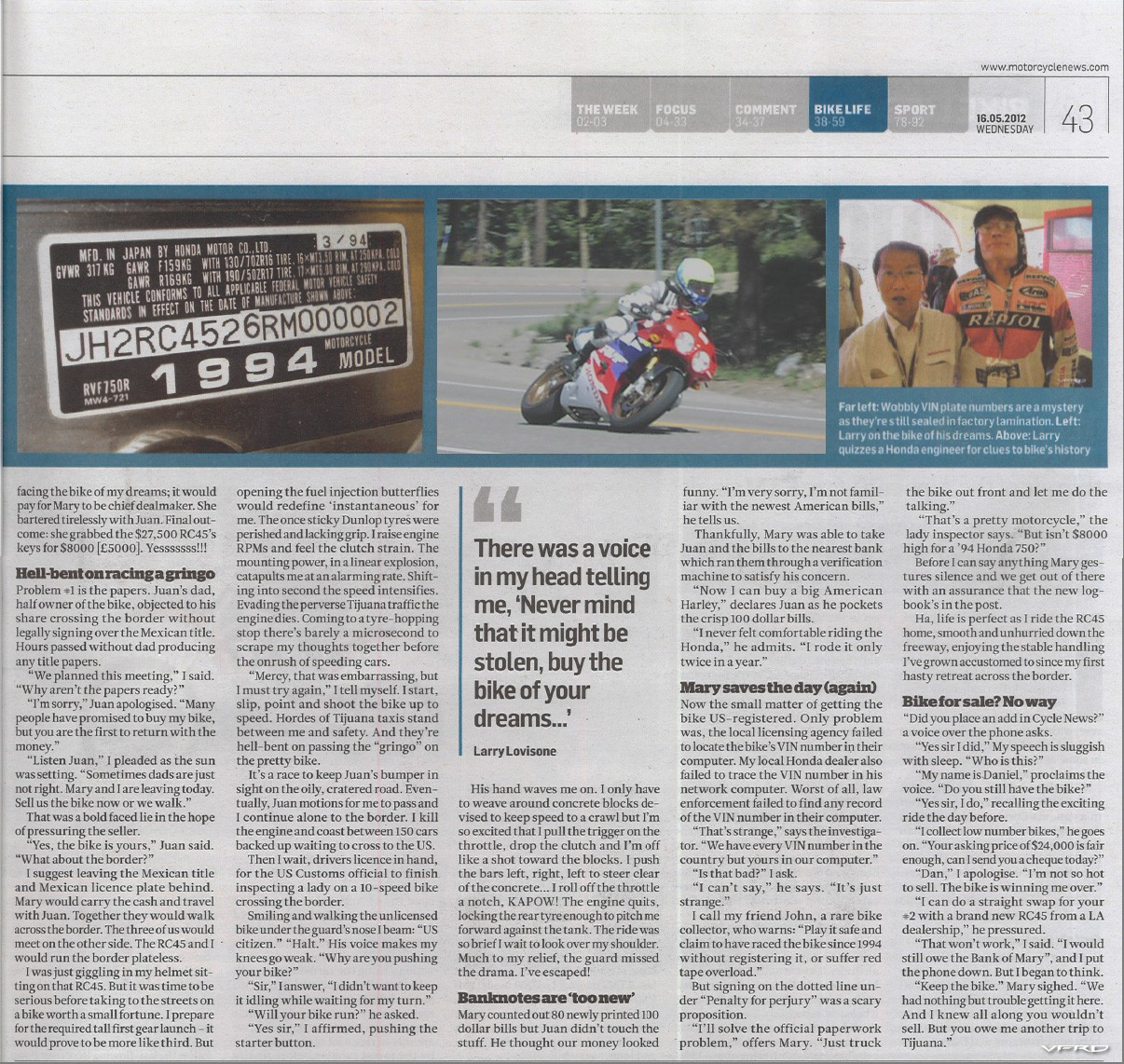 2 Wheel Ordeal Published in MCN