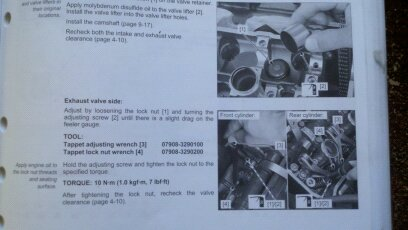 The manuals procedure for a adjusting the vavles