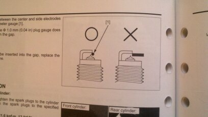 Manual has a warning picture on how to gap the plugs