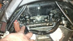 Removed the front cylinder head plastic heat shield