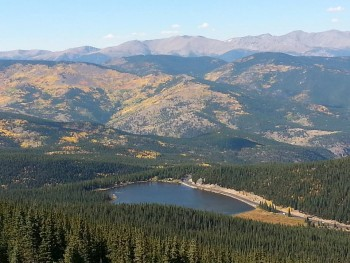 Echo lake and CO-103 at the base of Mt. Evans