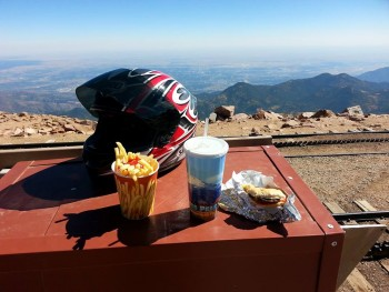 Mountain top lunch! looking east over Colorado Springs, CO