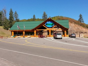 Entrance to Pike's Peak Highway, 7400 feet above sea level, Cascade, CO
