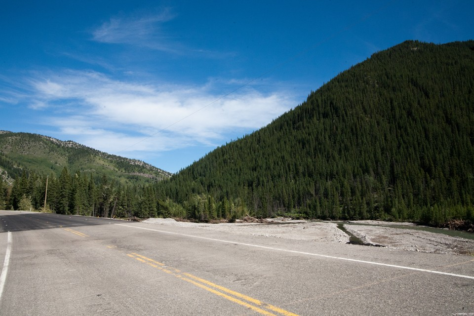 Highway 40 after the flood - fresh repairs beside the Highwood River