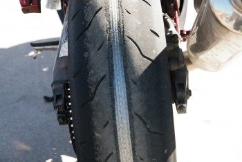 Close Up of Invincible Sport Bike Rider's Tire