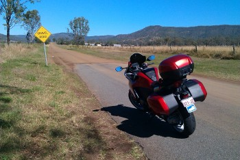 Gravel ahead!! Guess I am offroading the VFR!!