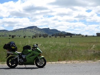 the bike on the way back from philip island, in the old colours.