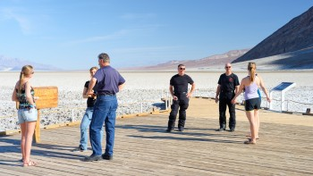 51 - foreign tourists invade Badwater, Death Valley