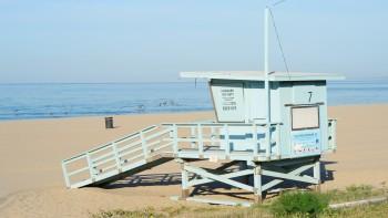 56 - lifeguard hut at Will Rogers State Beach, near Santa Monica, Cal