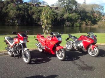 Three Honda Red V Fours