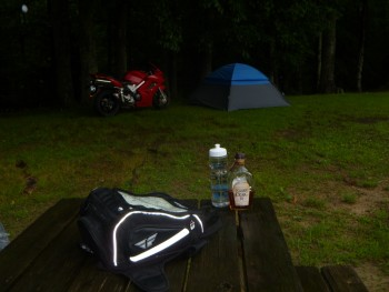 Tent camping in the rain