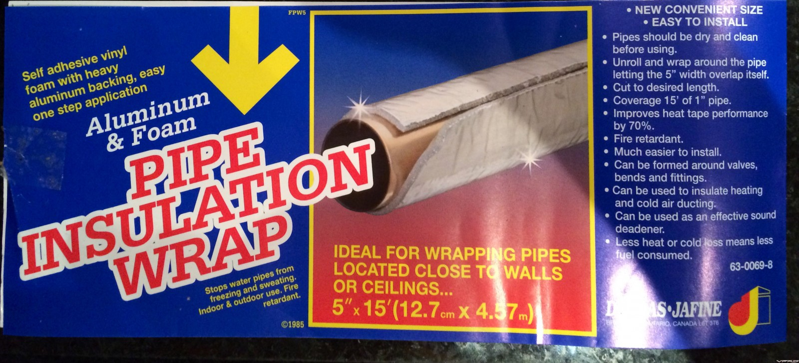 Vinyl foam aluminum backed self-stick insulation