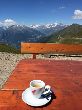 Time for an espresso coffee at Passo Giovo