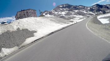 Stelvio Pass descent towards Switzerland