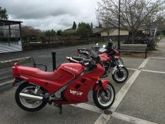 Pirongia, rainy Saturday. Worth getting wet. Note the 1984 VF400, still going strong.