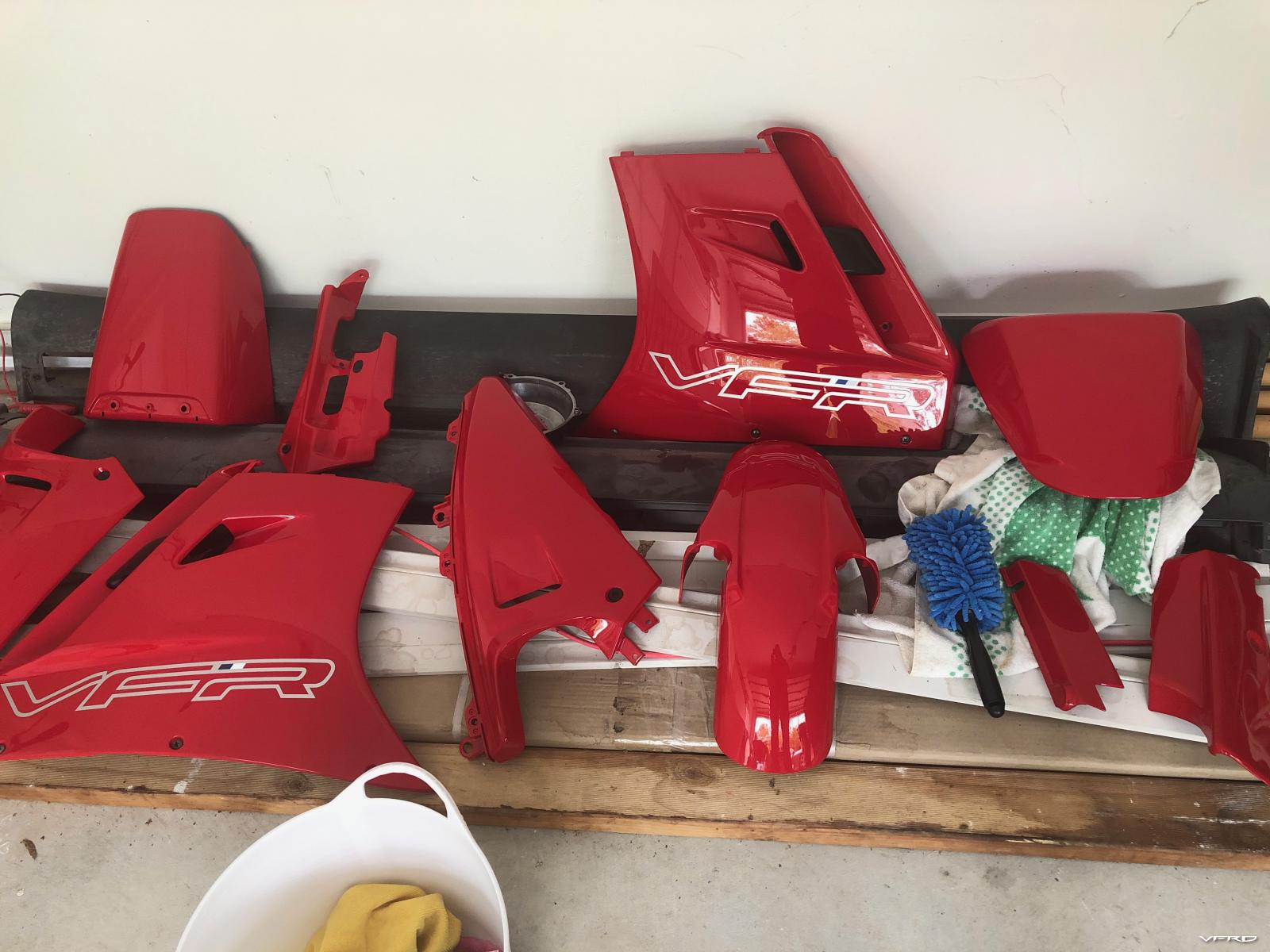vfr750 painted fairing pieces before installation