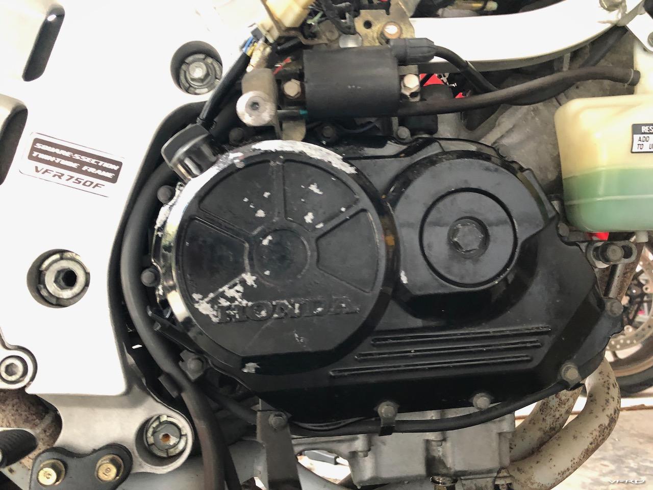VFR750 Engine Case before restoration